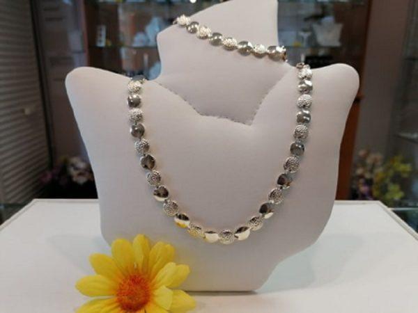 Dekoratív ezüst lánc, karlánc szett